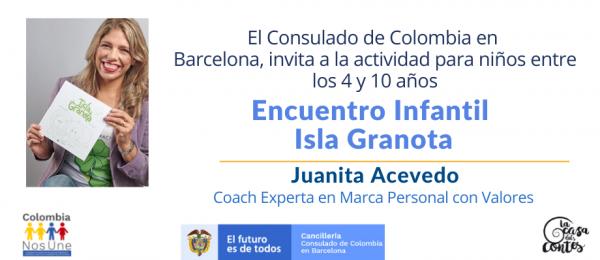 El Consulado de Colombia en Barcelona invita al Encuentro Infantil Isla Granota para niños entre los 4 y los 10 años, el 24 de julio de 2021
