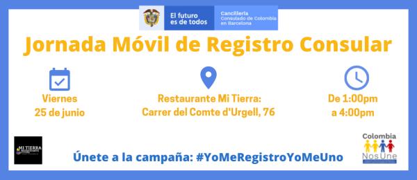 El Consulado de Colombia en Barcelona realizará una jornada móvil de registro consular el 25 de junio de 2021