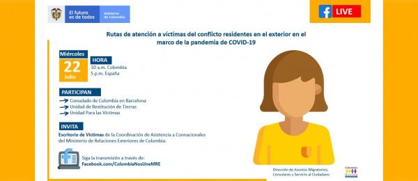 Connacionales Víctimas en Barcelona los invitamos a conectarse a través de Facebook con la Unidad para las Víctimas y Unidad de Restitución de Tierras