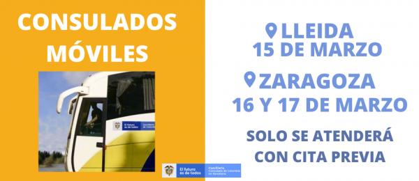 El Consulado Móvil se trasladará a Leída y Zaragoza del 15 al 17 de marzo