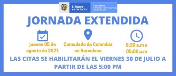 Consulado de Colombia en Barcelona invita a la Jornada Extendida que se realizará el 5 de agosto de 2021