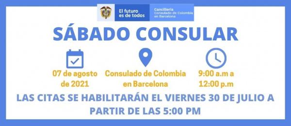 El 7 de agosto se realizará el Sábado Consular en la sede del Consulado de Colombia